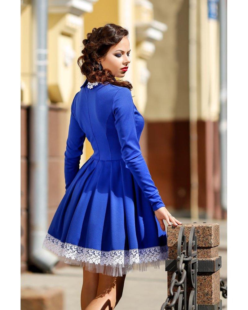 Белое платье с синим кружевом 22