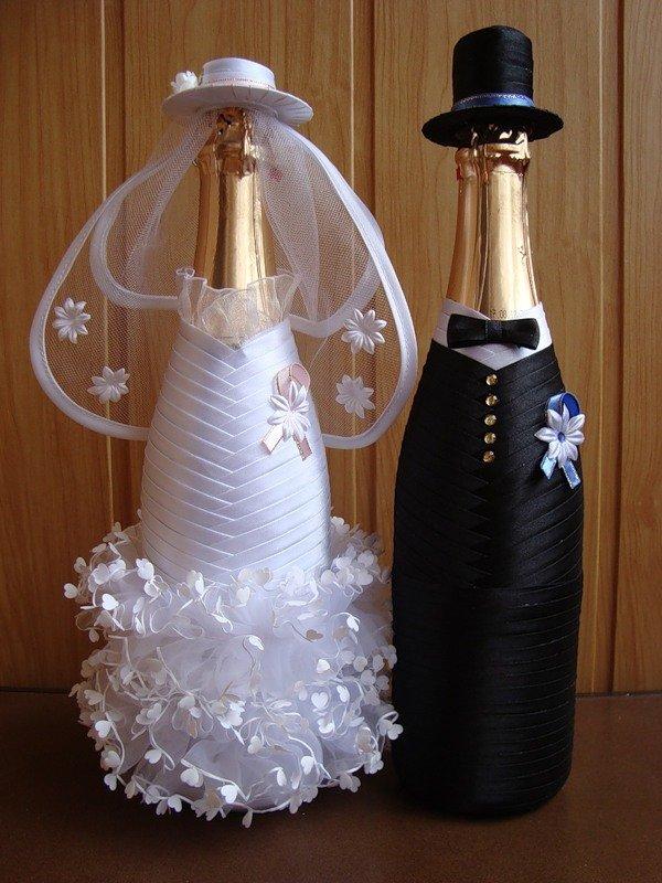 Украшения на бутылки для свадьбы