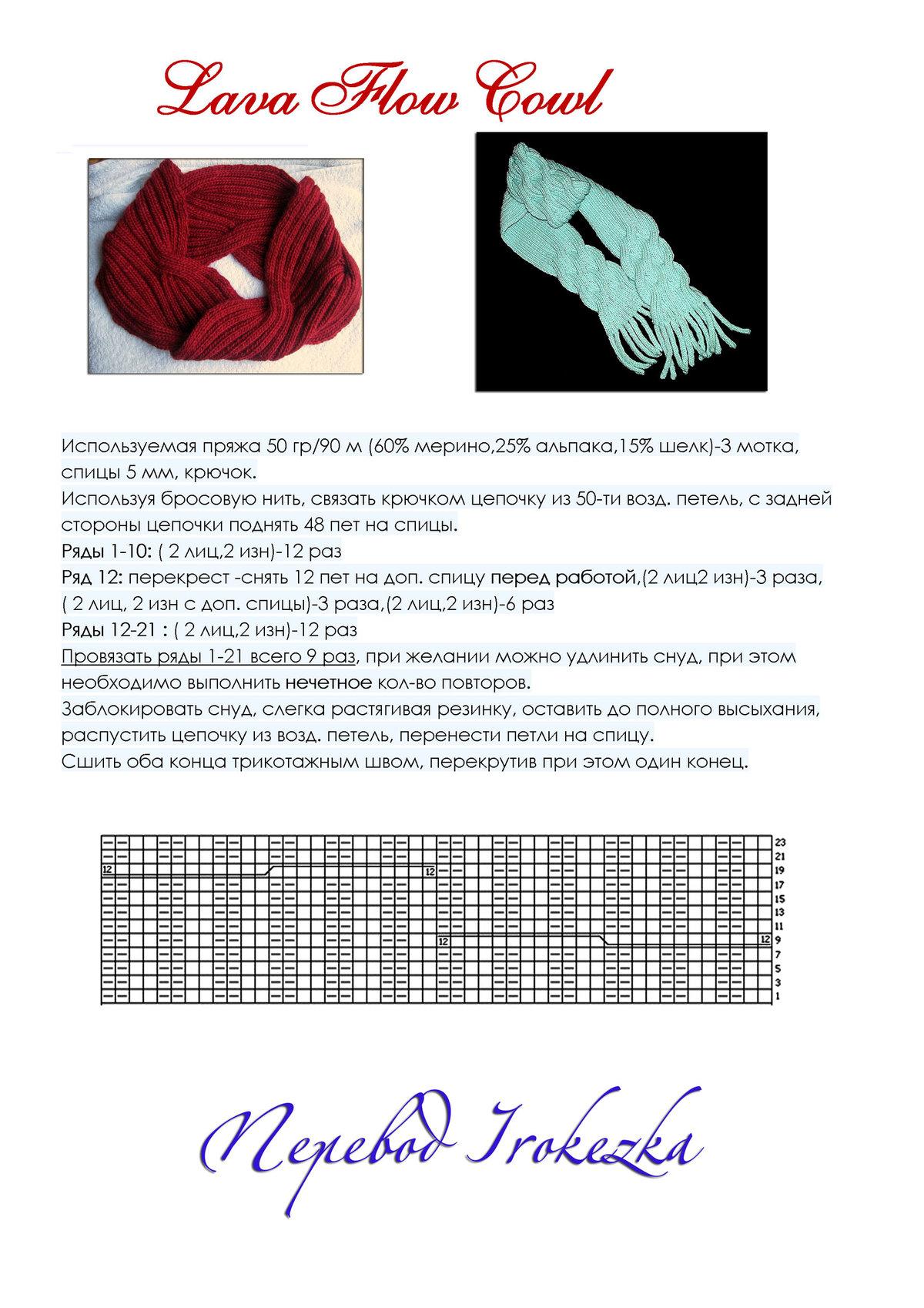 Как связать шарф-хомут спицами - руководство и схема