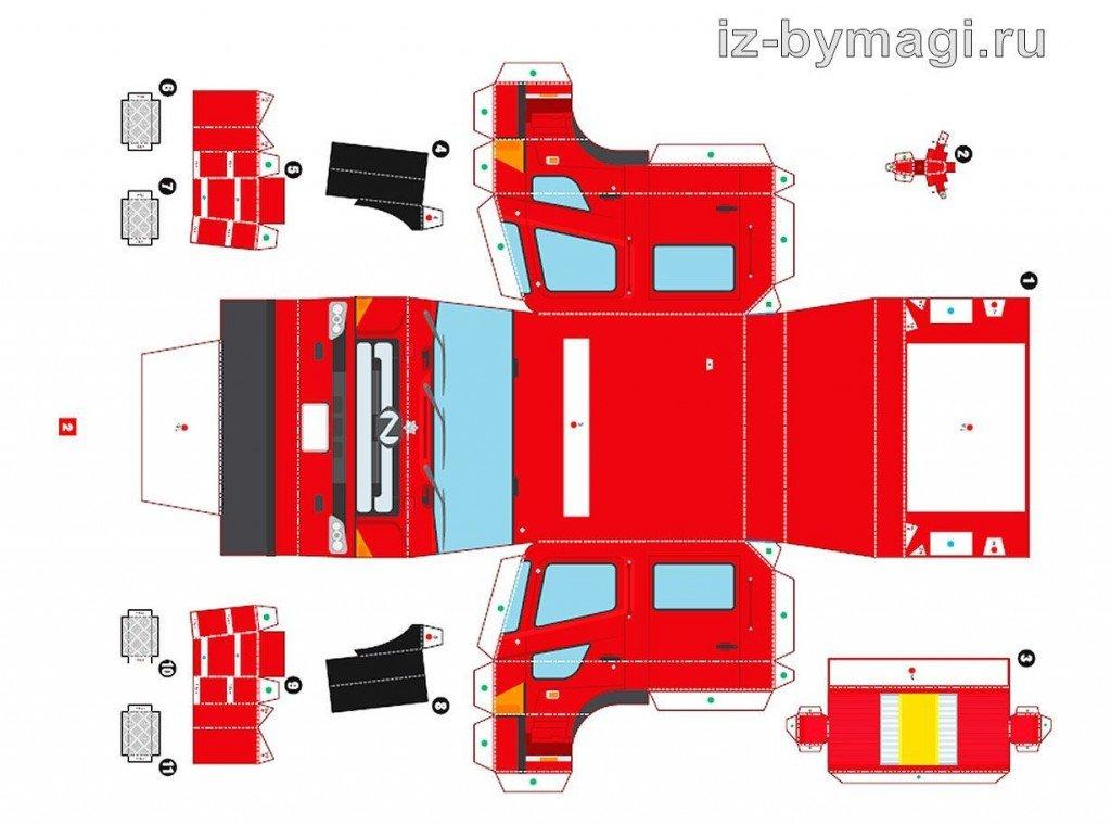 Схема пожарная машина из бумаги своими руками