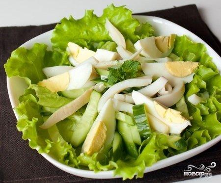Салат с кальмарами и свежим огурцов с фото