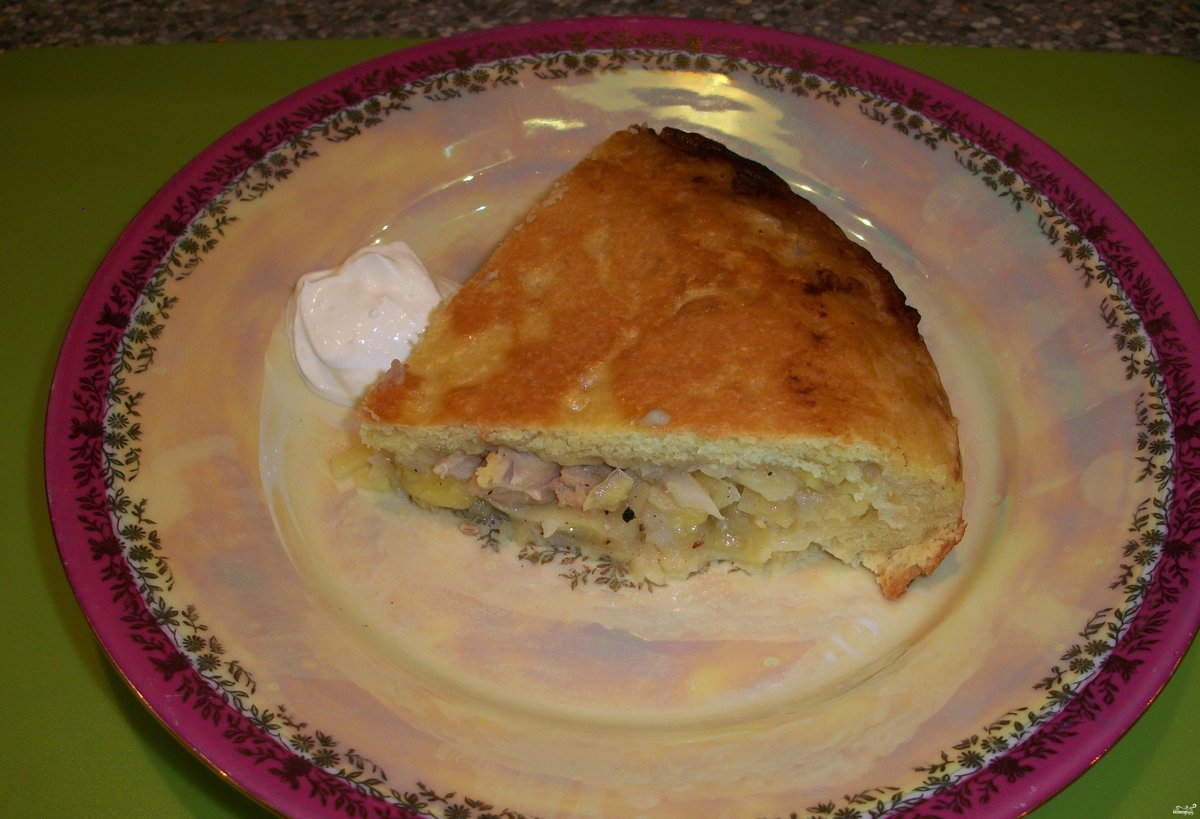 Пирог с курицей на сковороде рецепт