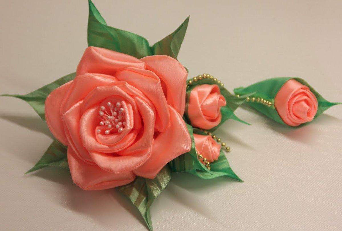 Изготовление цветов с атласных лент своими руками 62