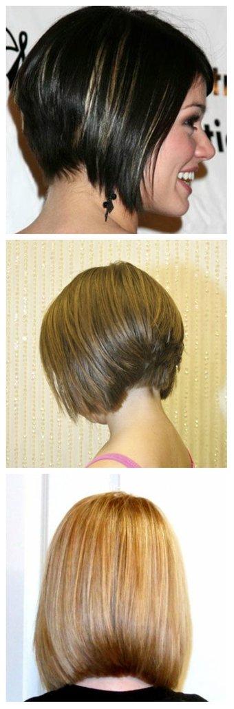 Стрижка боб каре на средние волосы вид спереди и сзади