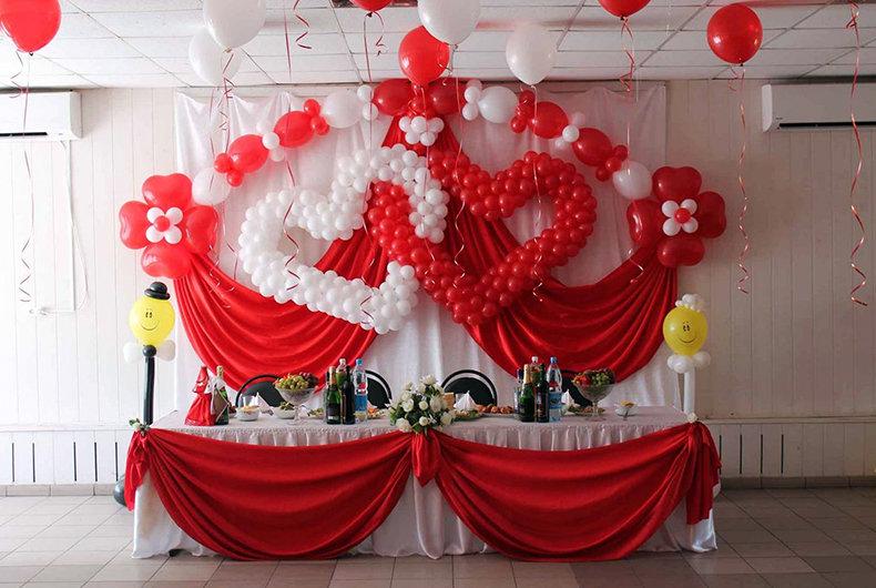 Украшения зала на свадьбу своими руками в красном цвете 49