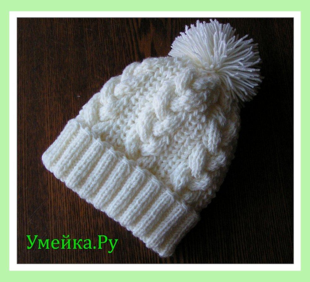 Описание вязания шапочки с помпоном