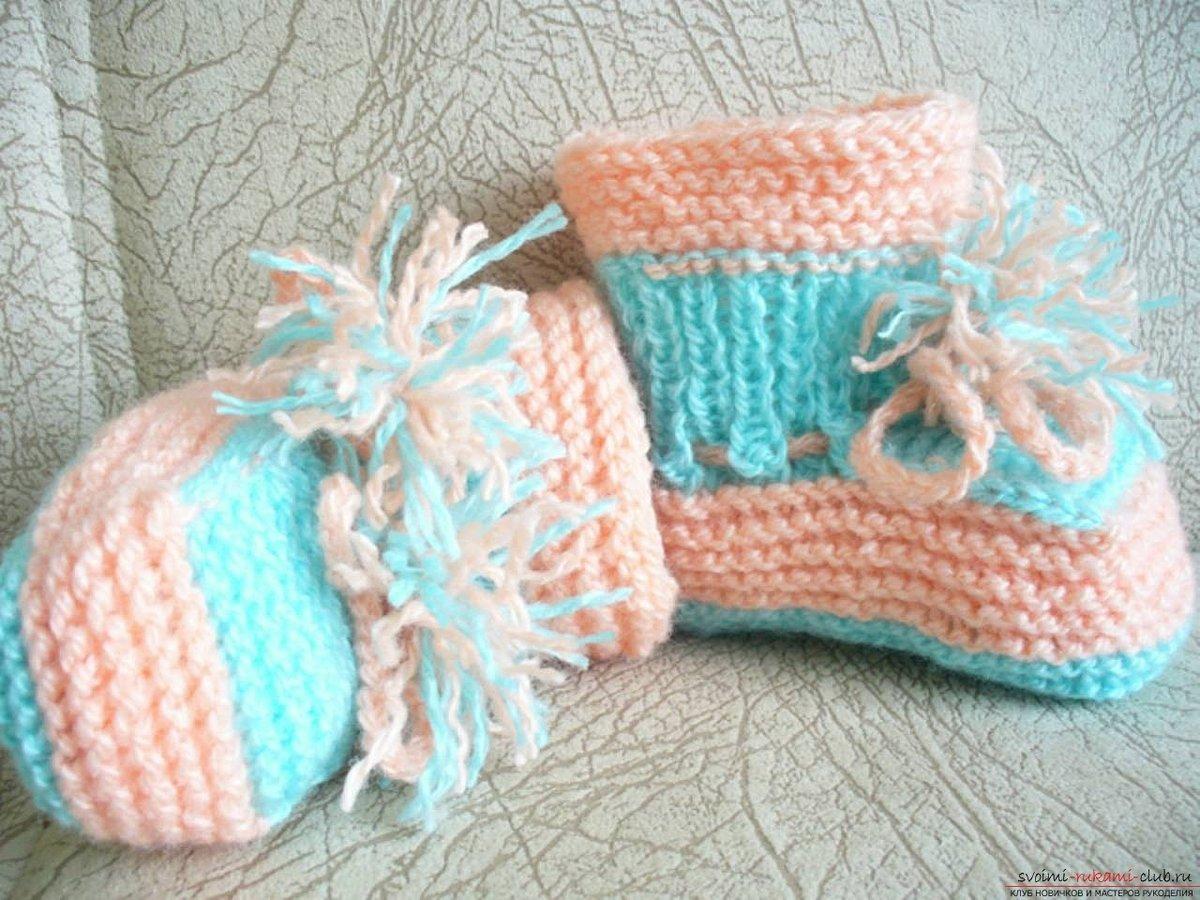 Модель вязание пинетки спицами