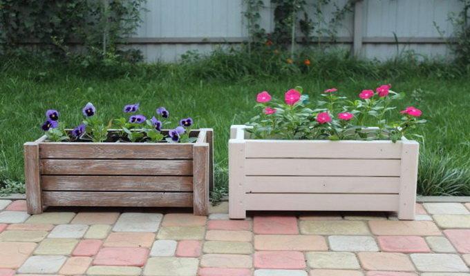 Деревянная цветочница для сада своими руками