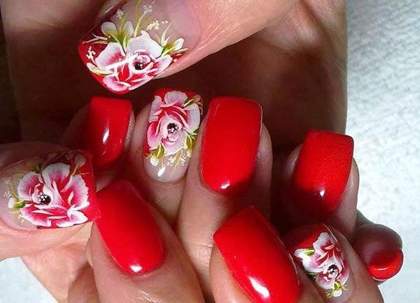Цветочный дизайн ногтей гель лаком