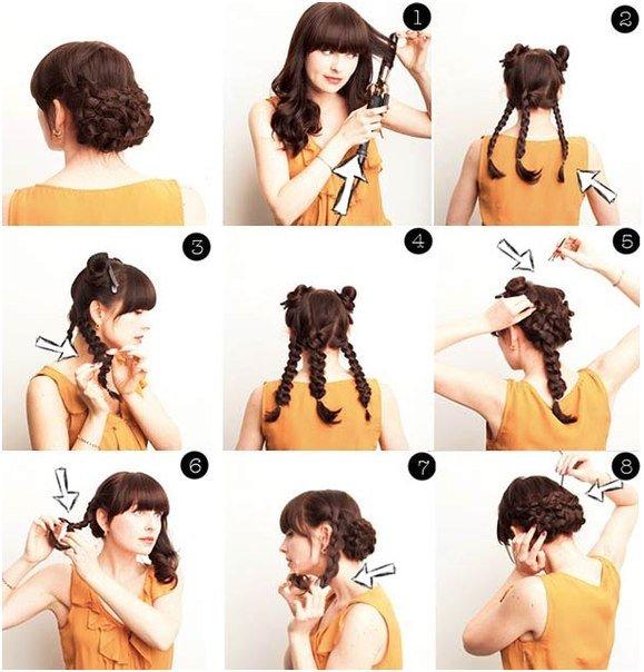 Прически в домашних условиях для средних волос схема