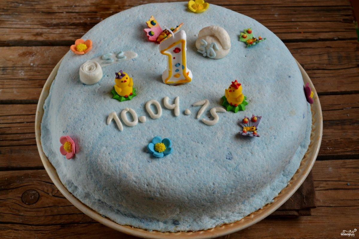Торт на первый день рождения мальчику своими руками один