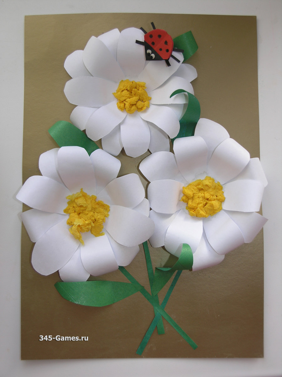 Цветы объемная аппликация