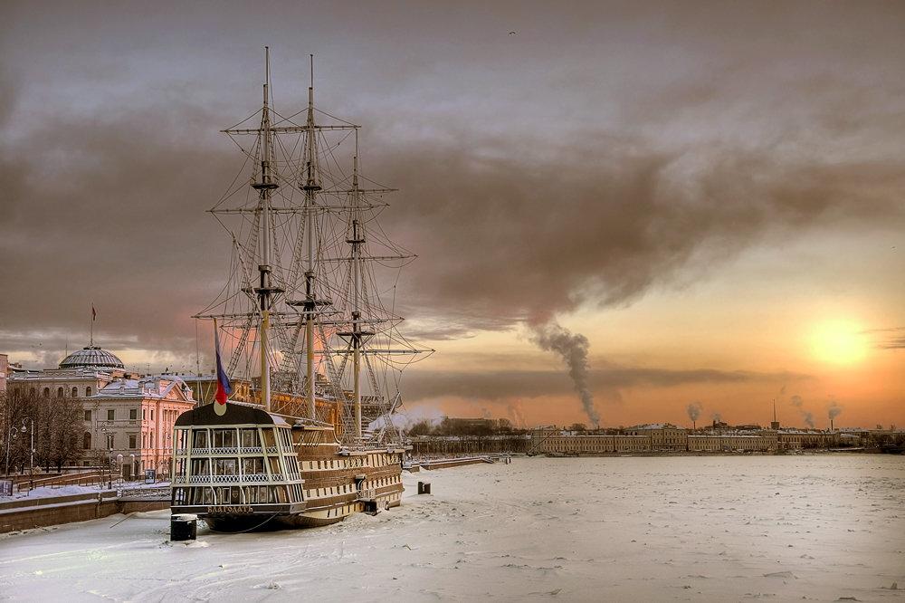 Санкт-Петербург корабль закат  № 3945012  скачать