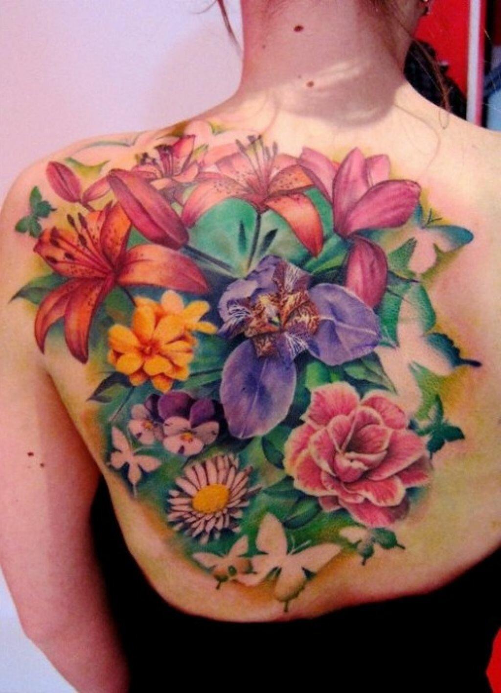 Тату на спину цветы фото