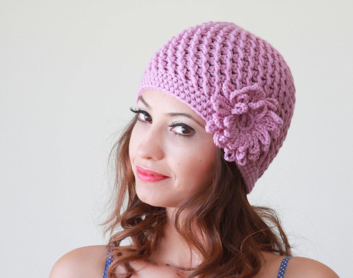 Как связать женскую шапку крючком фото
