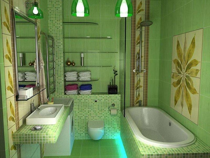 Дизайн в ванной в зеленых тонах