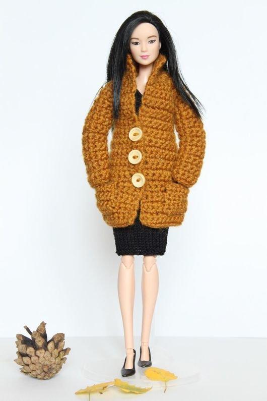 Вязание крючком пальто для барби 4