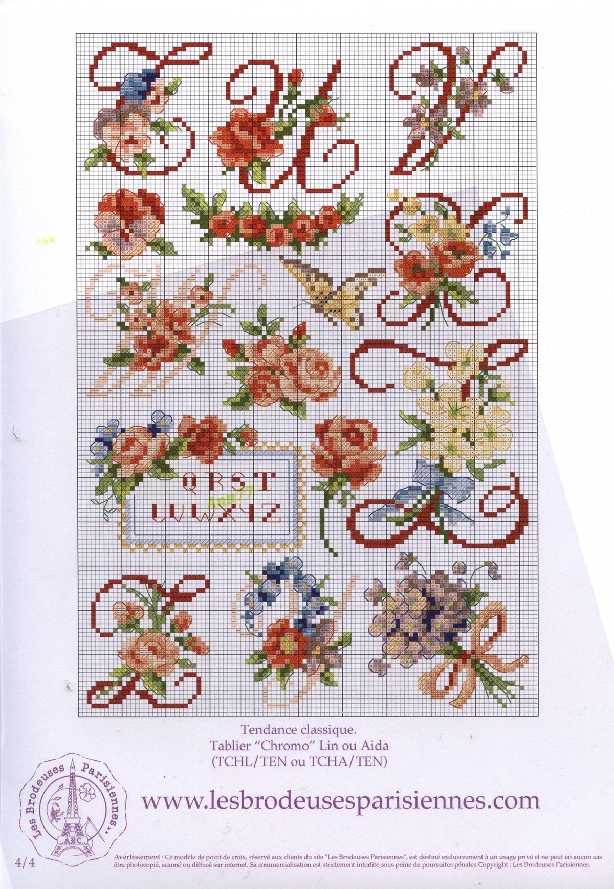 Схемы вышивки крестом буквы с розами