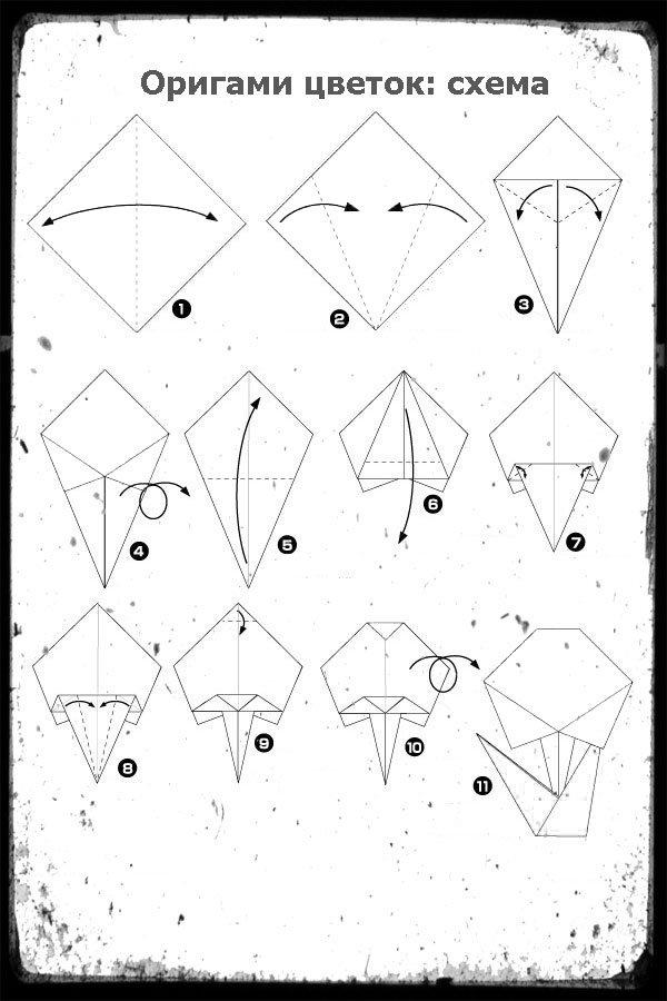 Схема цветка оригами скачать