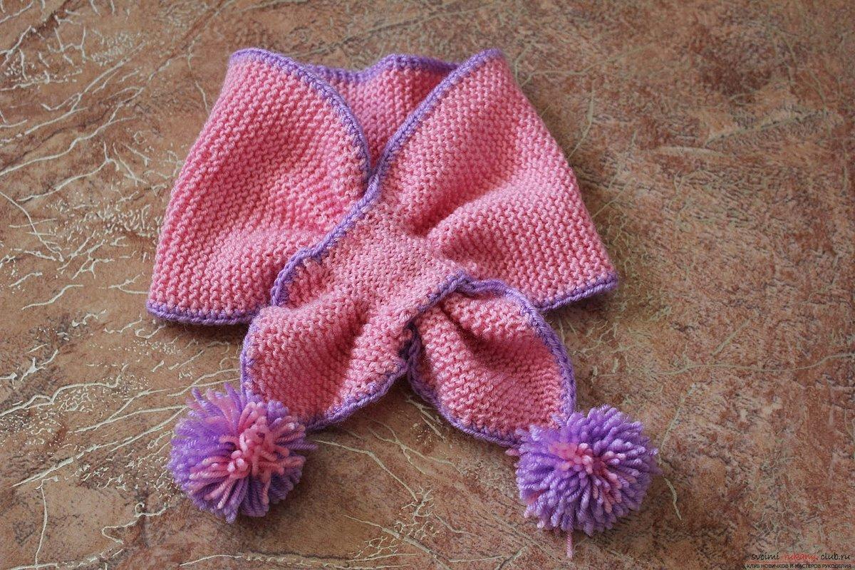 Вязание спицами шарфика для девочки
