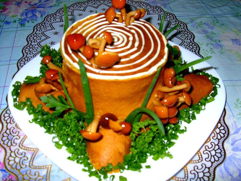 Салат рулет пенек пошаговый рецепт