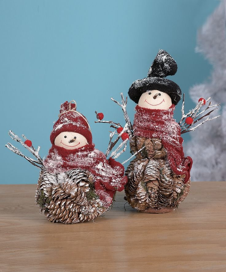 Как сделать снеговика из еловых шишек