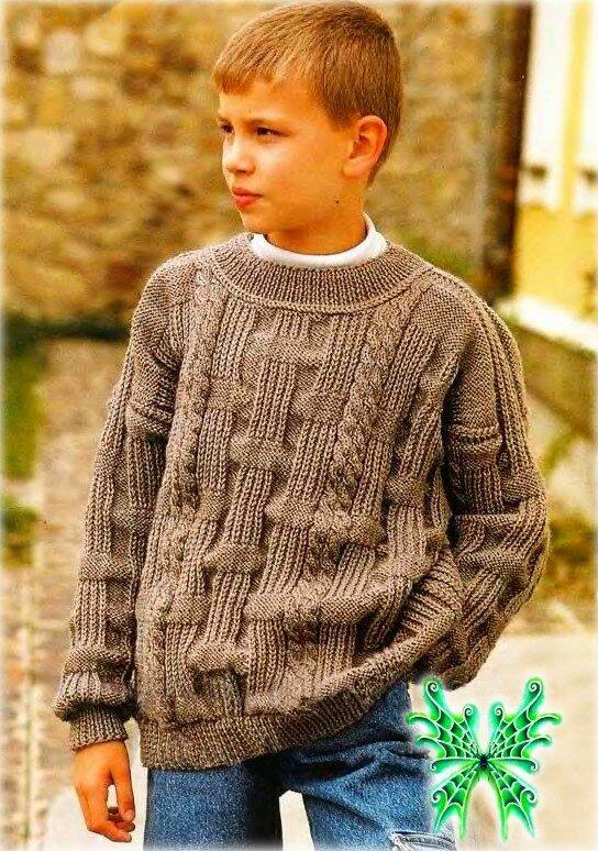Вязание спицами свитер для мальчика 7-8 лет 53