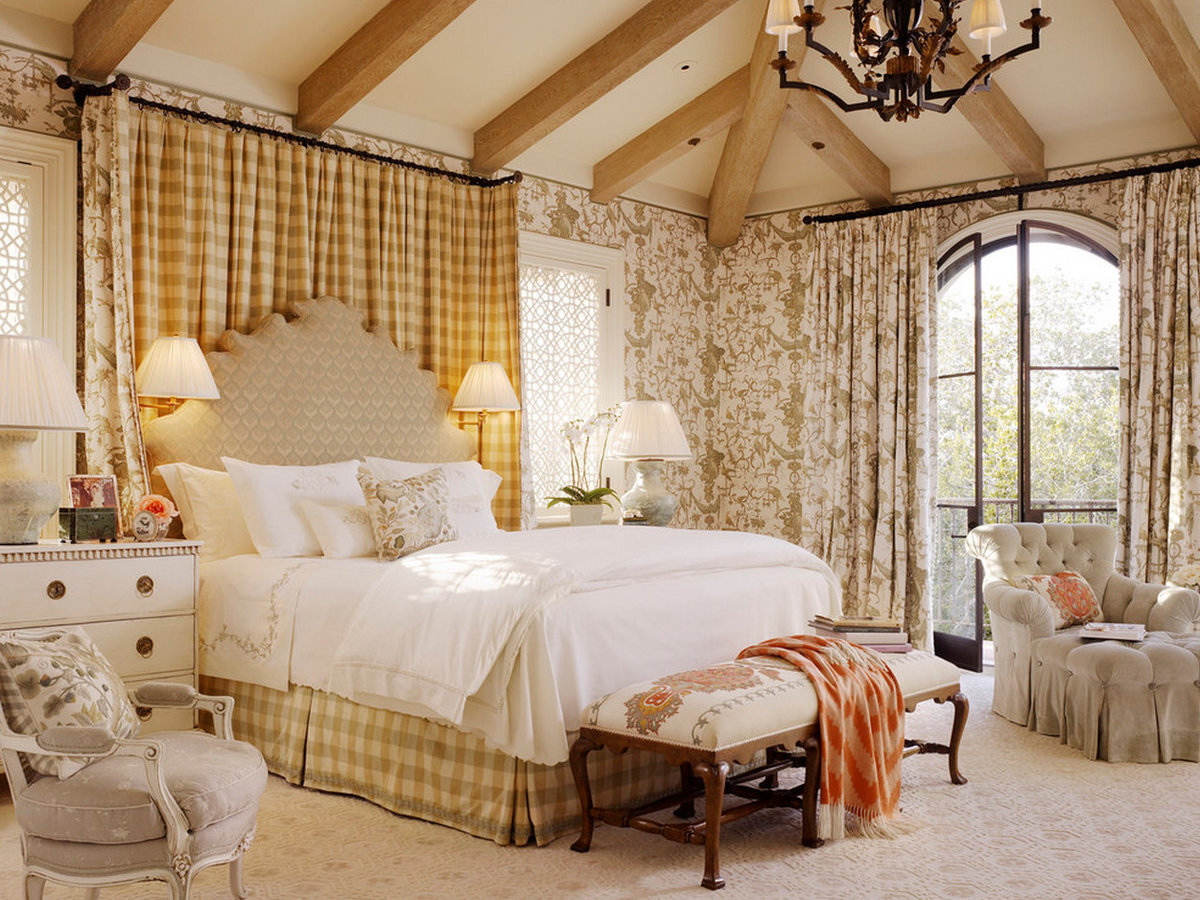 Дизайн спальни в стиле кантри прованс