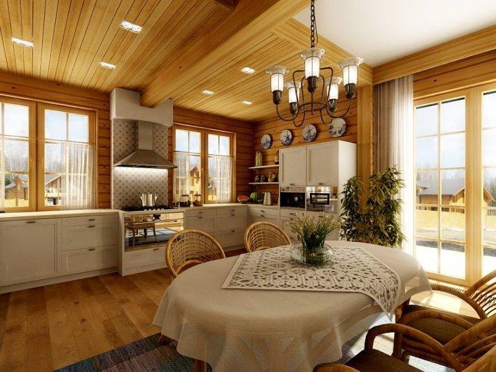 Дизайн интерьера столовой в загородном доме фото