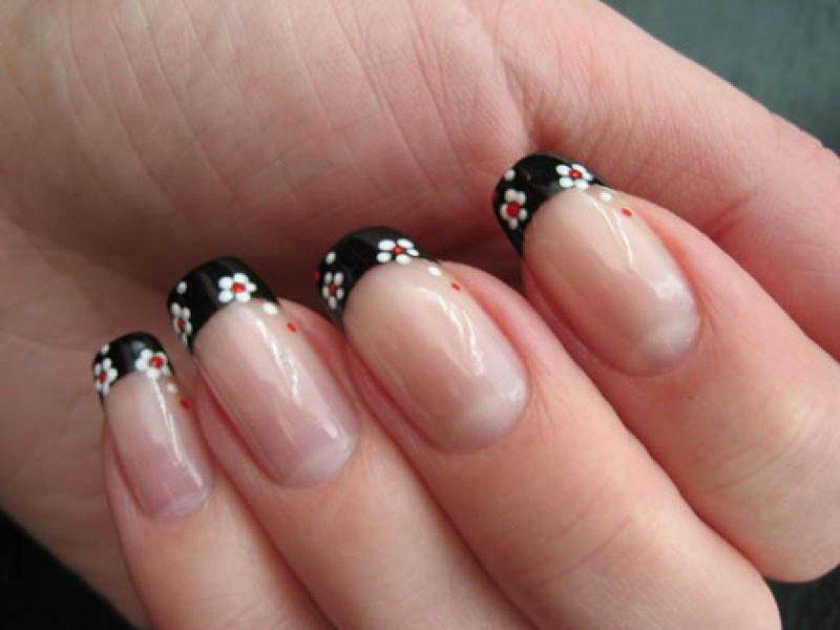 Красно черные ногти фото френч с рисунком
