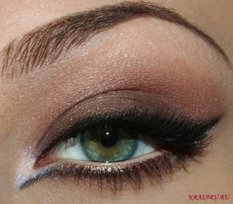 Вечерний красивый макияж для зеленых глаз 145