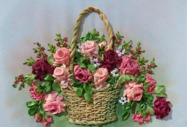 Вышивка лентами цветы в корзине фото 64
