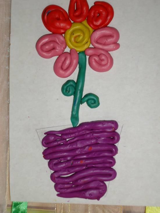 Подарок маме на 8 марта цветы из пластилина