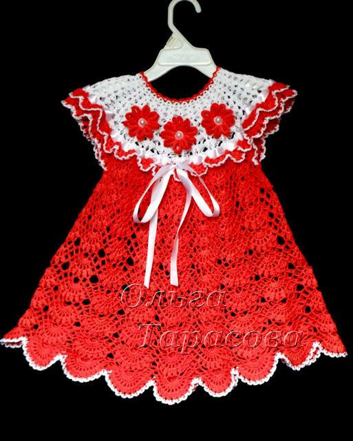 Вязание крючком детского платья с цветами