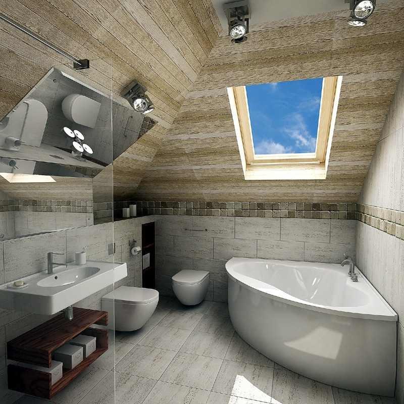Дизайн ванной комнаты на мансарде без окна