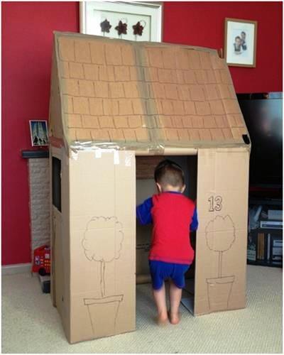 Как сделать ребёнку домик из картона
