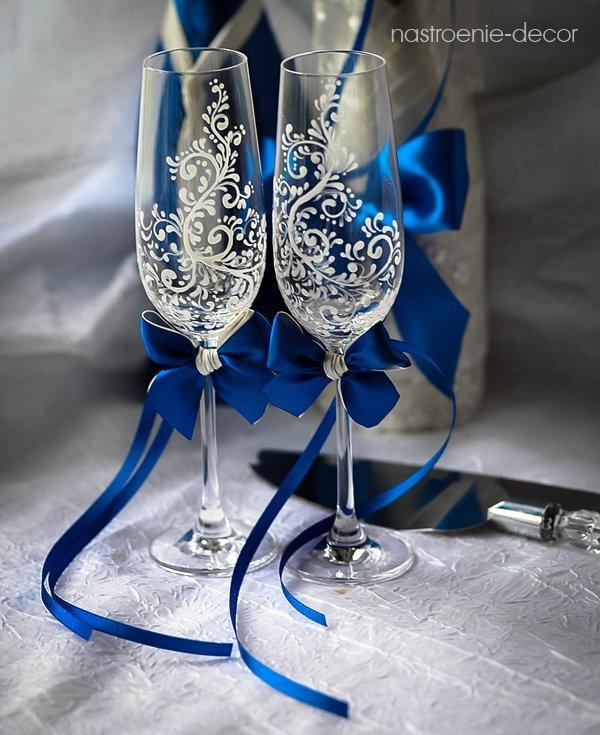 Свадебных бокалов своими руками синий 34