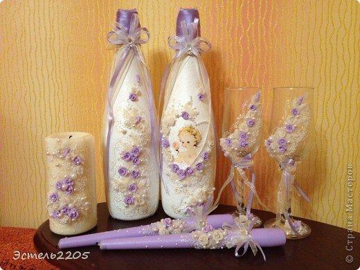 Декупаж на бутылке на свадьбу мастер класс