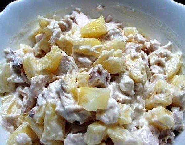 Салаты с курицей с ананасом рецепты с