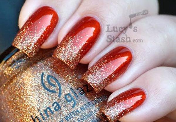 Ногти красные с золотом дизайн