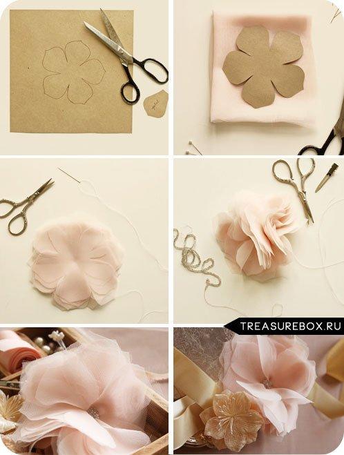 Как сделать цветы из ткани в картинках