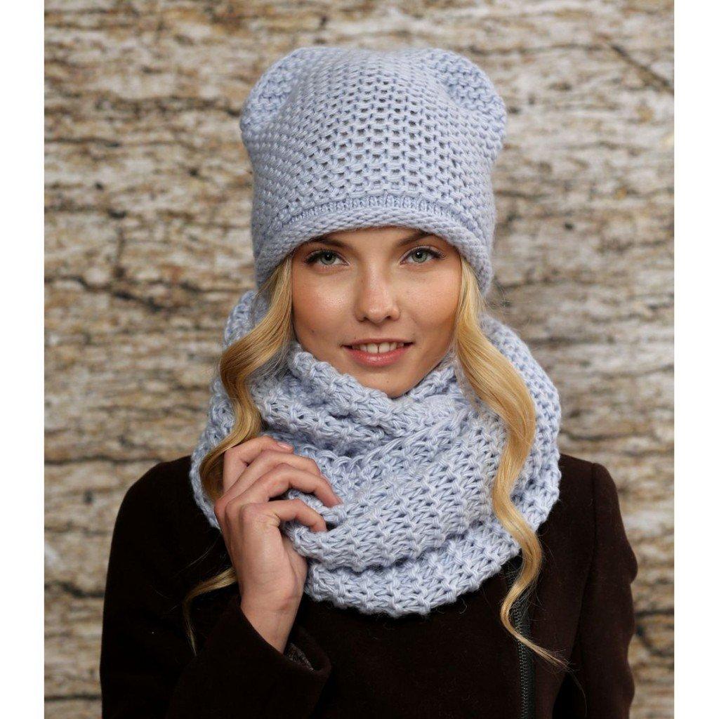 Вязаные шапочки и шарфы своими руками 83