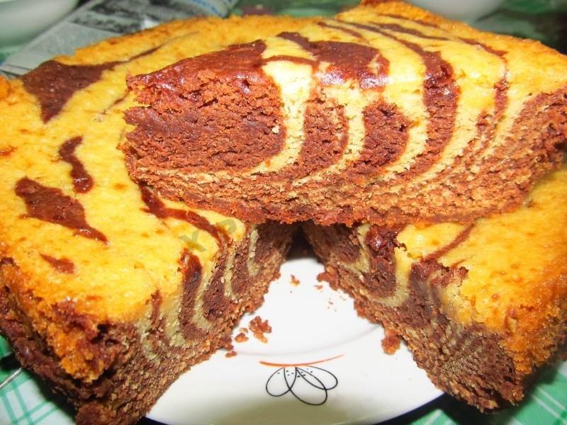Вкусный пирог зебра рецепт с фото