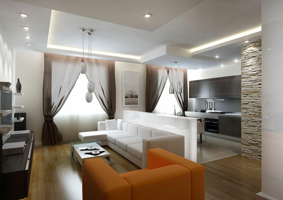 Кухня и гостиная на 34 метрах интерьер фото