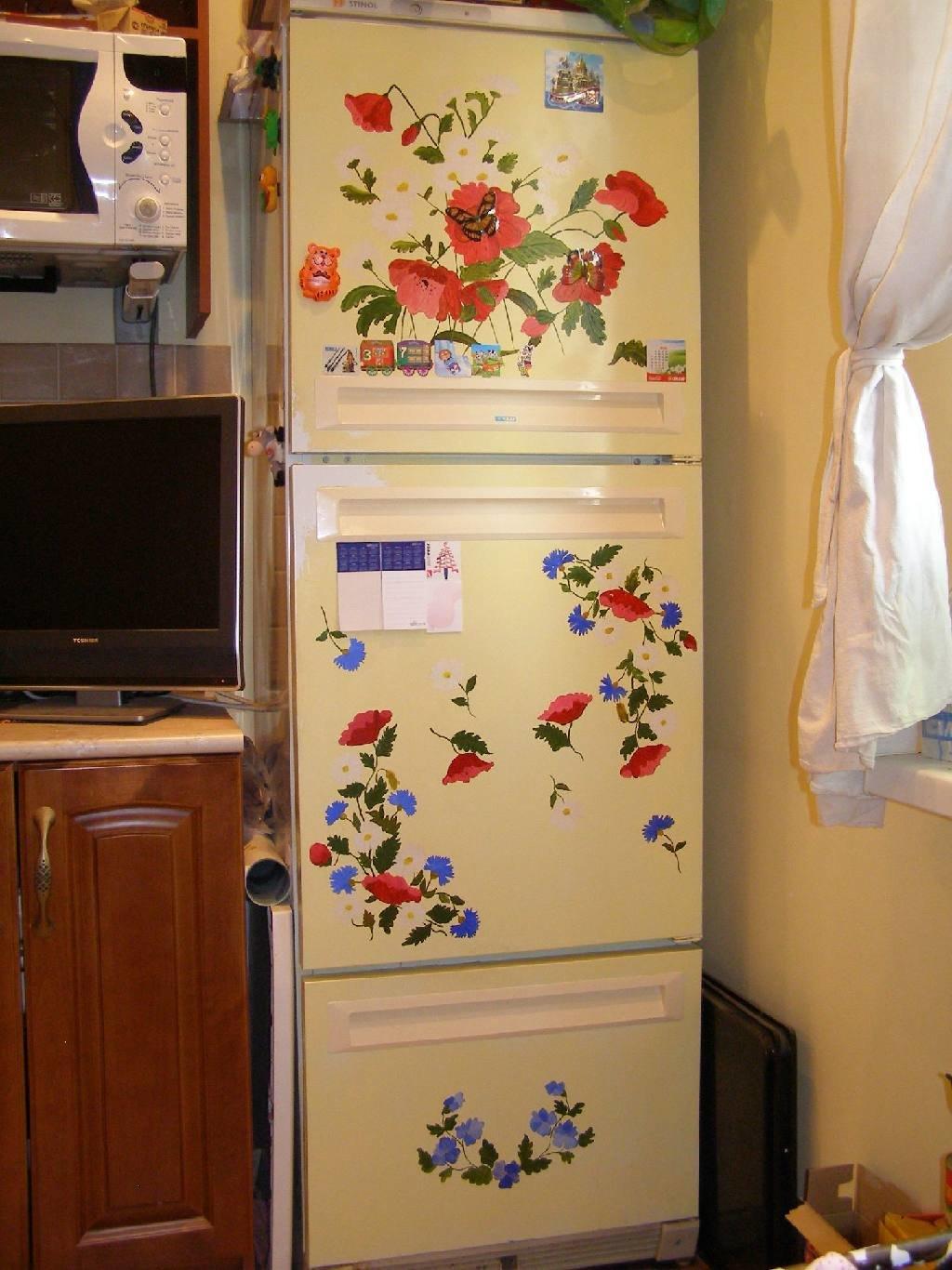Как обновить старый холодильник своими руками: идеи реставрации старого 665