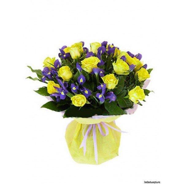"""Поздравительный букет """"19 роз и 16 ирисов"""""""" - карточка пользователя rizhaya3186 в Яндекс.Коллекциях"""