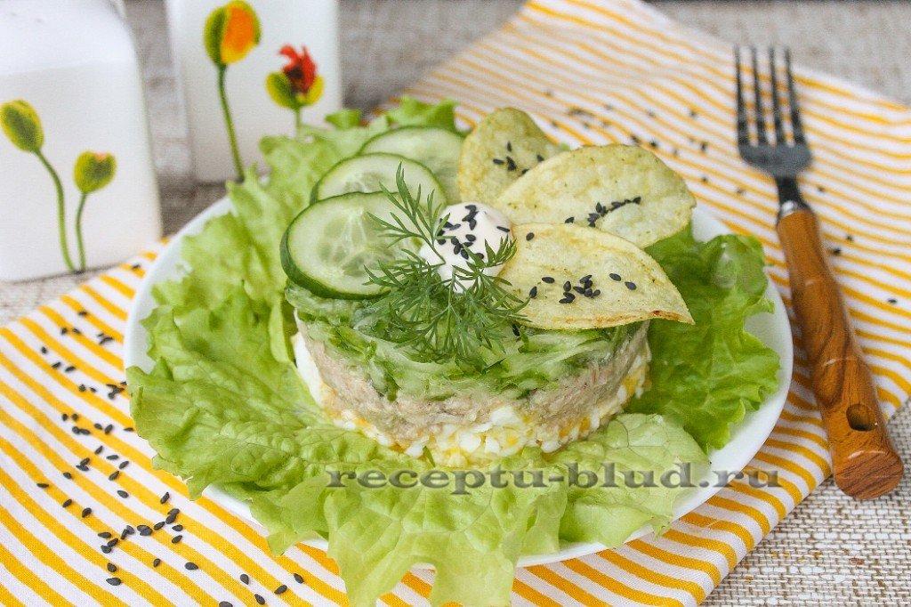 Салат с тунцом консервированным и огурцом рецепт с пошаговым