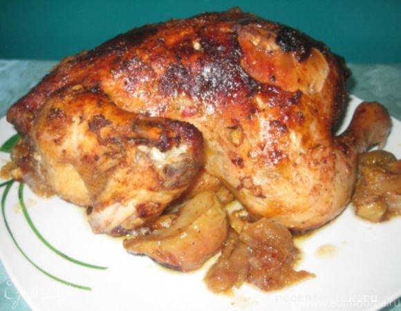 Курица в духовке в фольге с яблоками рецепт с пошагово в духовке