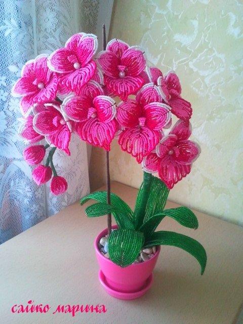 Орхидея из бисера фото мастер класс