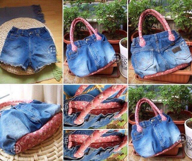 Сшить сумку из старых джинсов для обуви 62